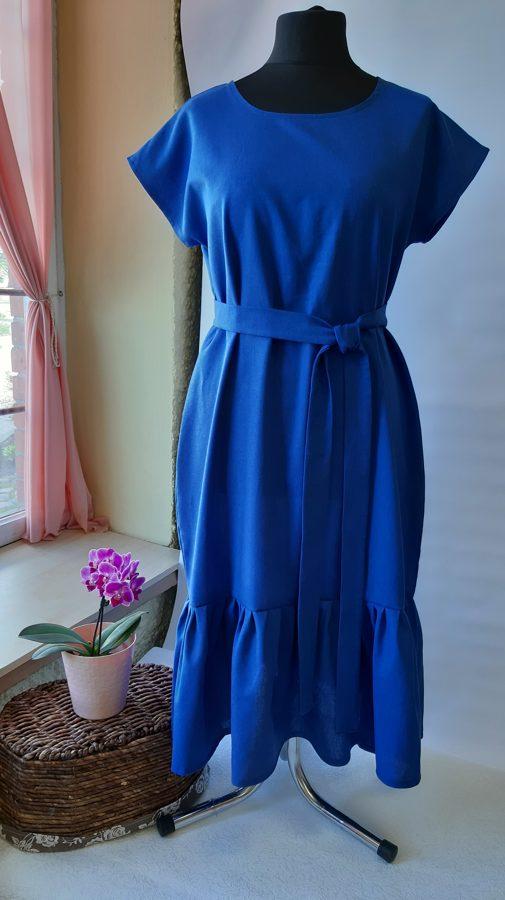 Zila lina kleita ar volānu.PARAUGS