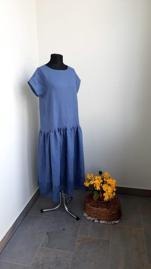 Zila, sieviešu lina kleita ar mezģīni.PARAUGS.