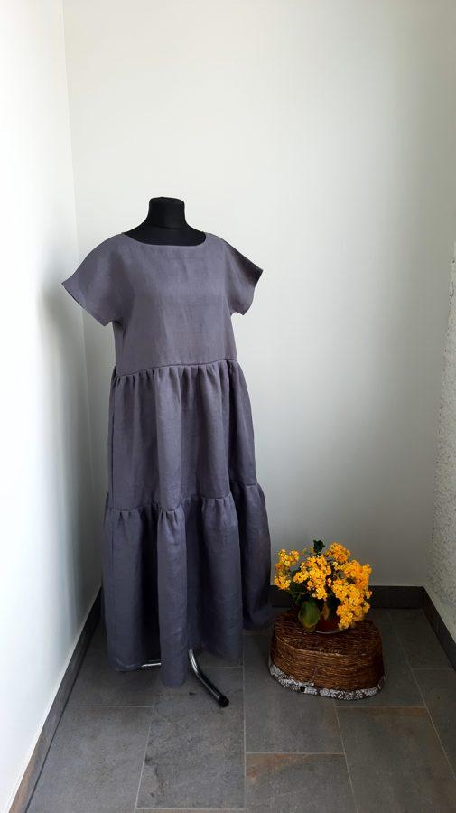 Pelēka,garā sieviešu kleita. Paraugs.