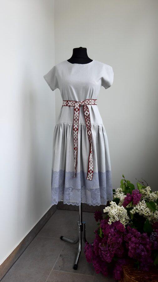 Pelēka lina kleita, ģimenes komplekts.