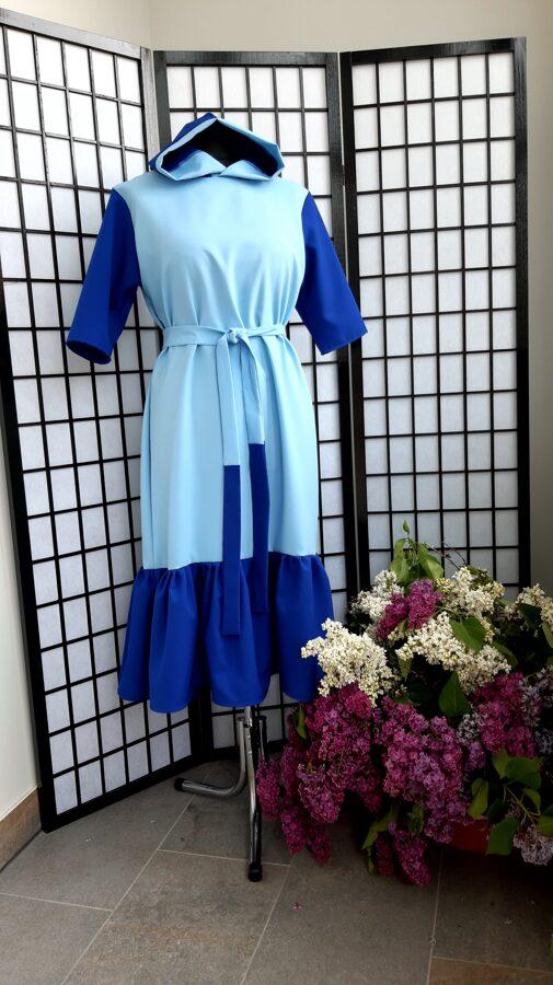 Zila sieviešu kleita ar kapuci. Pārdots.