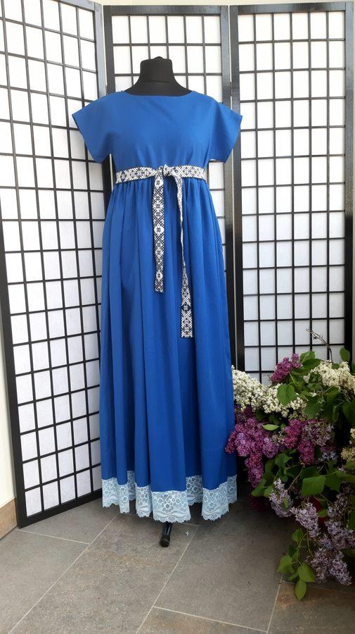 Zila, garā lina kleita. PĀRDOTA