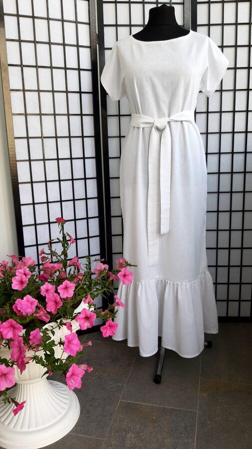 Balta ,garā lina kleita ar volānu.