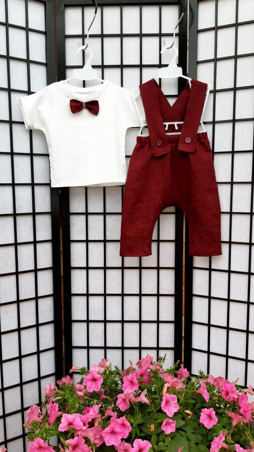 Bordo tonī lina lenčbikses un balts lina krekls.Cepure.