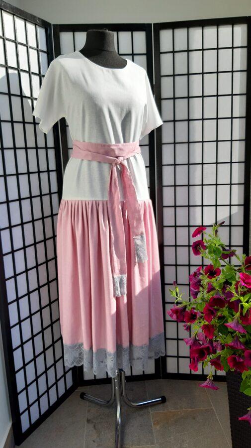 Garā lina kleita rozā ar baltu ,mežģīne. PĀRDOTA.