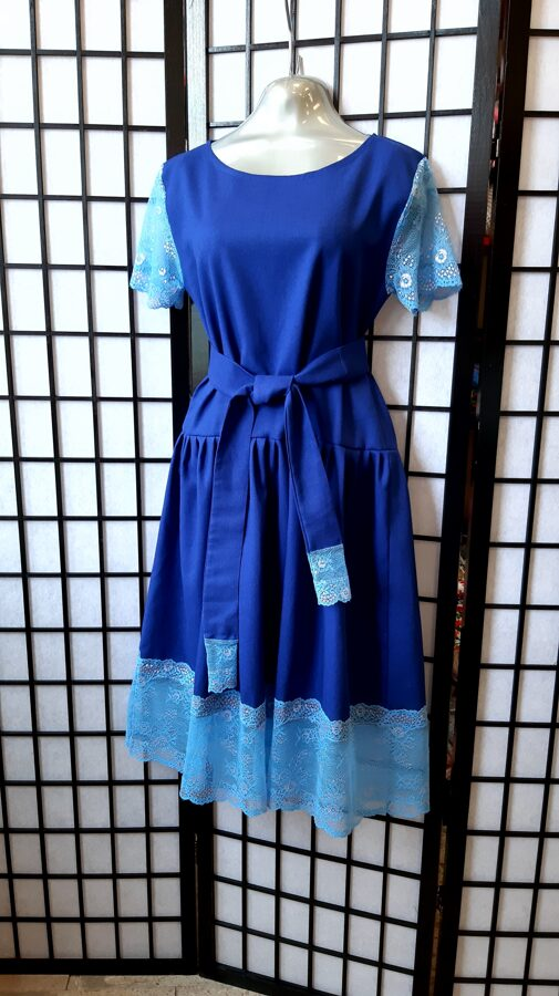 Zila lina kleita ar mezģīni. pārdots.