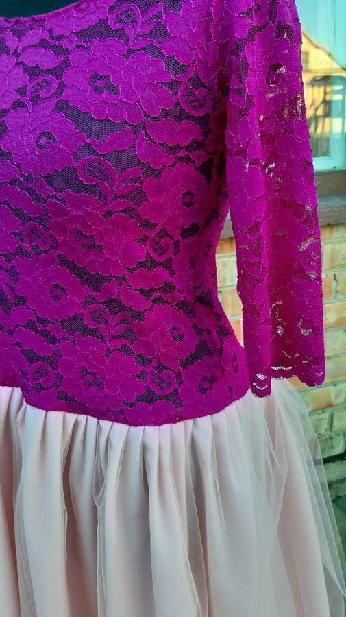 Fuksija krāsā kleita ar tillu. PĀRDOTA.