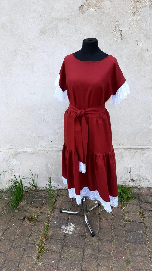 PĀRDOTA.Bordo lina kleita ar baltu mežģīni. 40/44 izm.