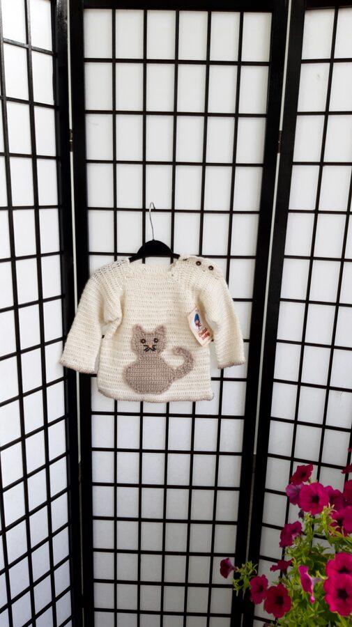 Bēšīgs džemperis no merino dzijas.,,Kaķis,, 80/86 izm.