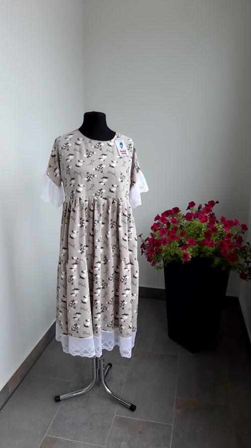 Bēšīga kleitas ar baltu mežģīni. PĀRDOTA.