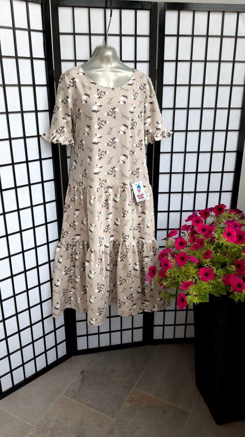 Gara,bēšīga kleitai ar rakstu. 36/38 izm.