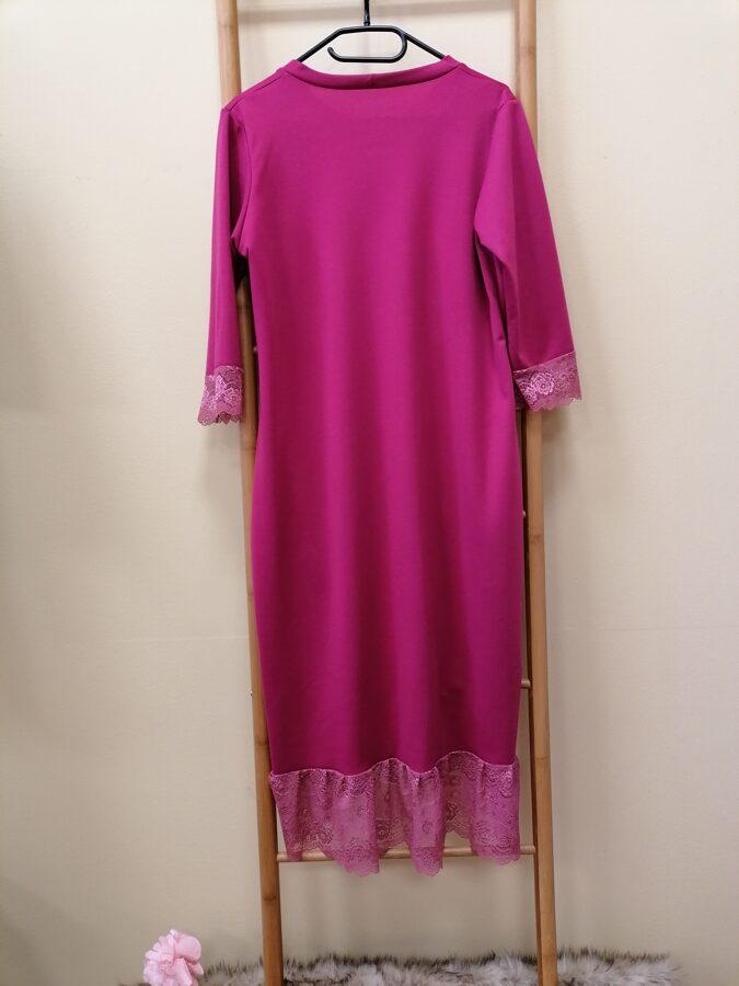Fuksija tonī kleita ar mežģīni,kabatas.40/42 izm.