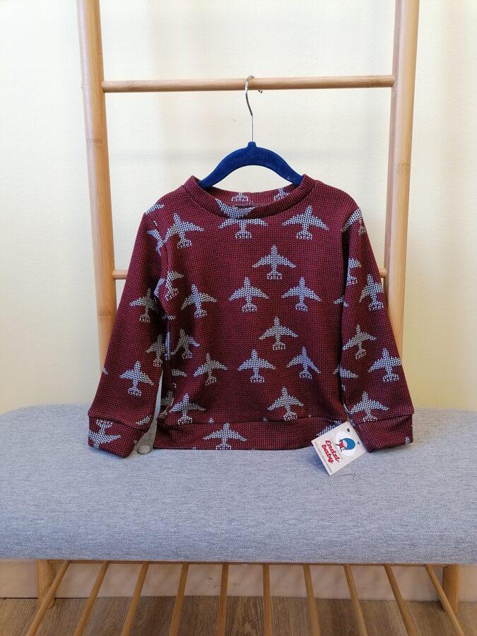 Bordo krāsā trikotāzās džemperis.,,Lidmašīnas,, 68.izm.-128.izm.
