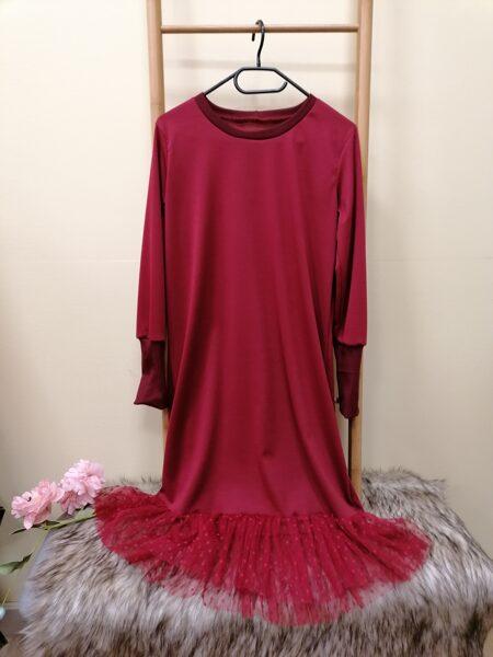 Tumši sarkana kleita ar pagarināto manžeti.38/40 izm.