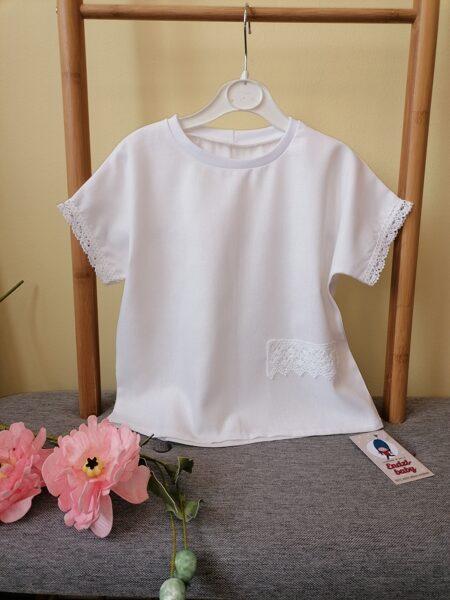 Baltas lina krekls ar kokvilnas mežģīni.68.izm.-140.izm.