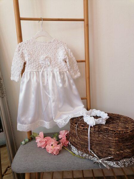 Balta garā kristību kleita,galvas lenta.56-86.izm.