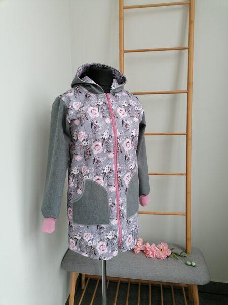Puķaina softshell jaka ar kabatām. 38/40.izm.